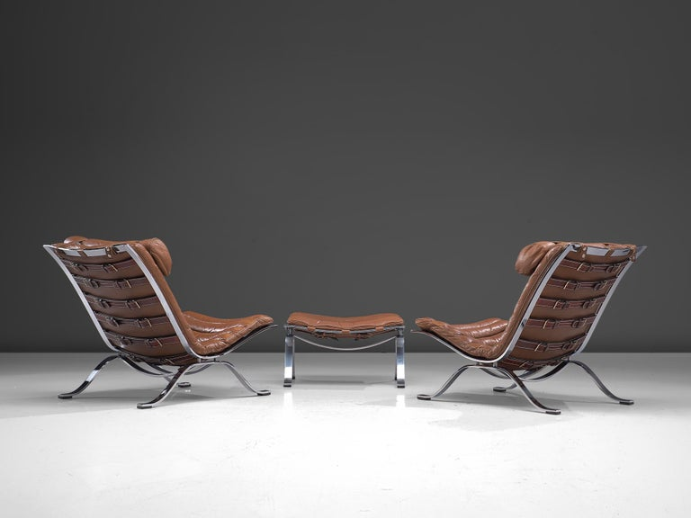 Scandinavian Modern Pair of 'Ari' Lounge Chairs with Ottoman in Brown Leather For Sale