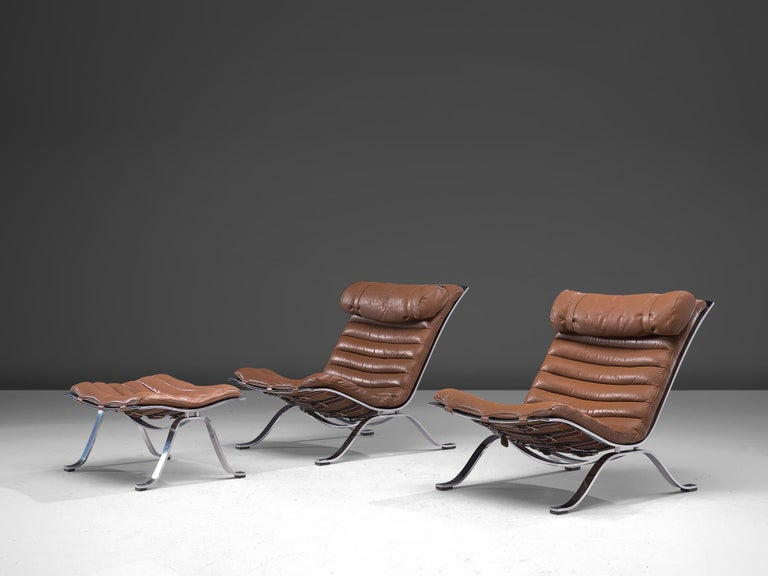 Swedish Pair of 'Ari' Lounge Chairs with Ottoman in Brown Leather For Sale
