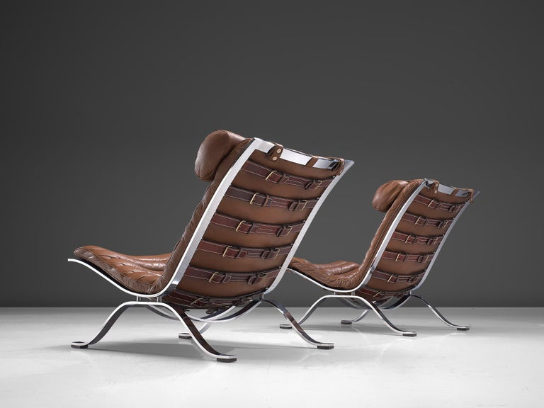 Pair of 'Ari' Lounge Chairs with Ottoman in Brown Leather In Good Condition For Sale In Waalwijk, NL