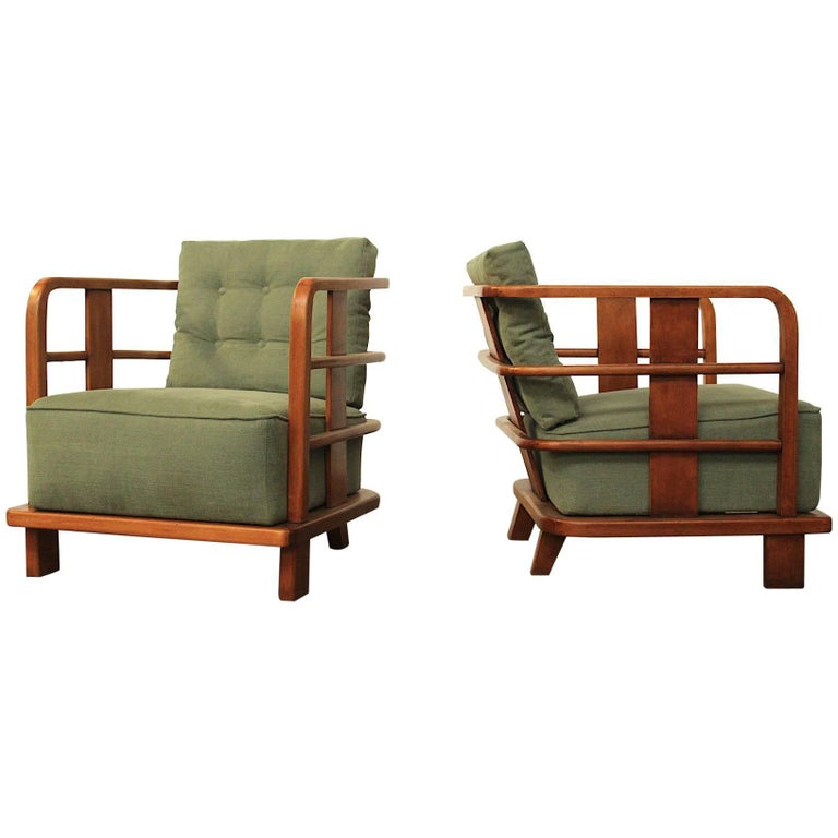 Pair of Armchairs Easy Chairs, Attributed to Jean Royere, France, Mid-1940s