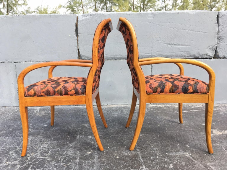 Fabric Pair of Armchairs in the Style of Robsjohn-Gibbings For Sale