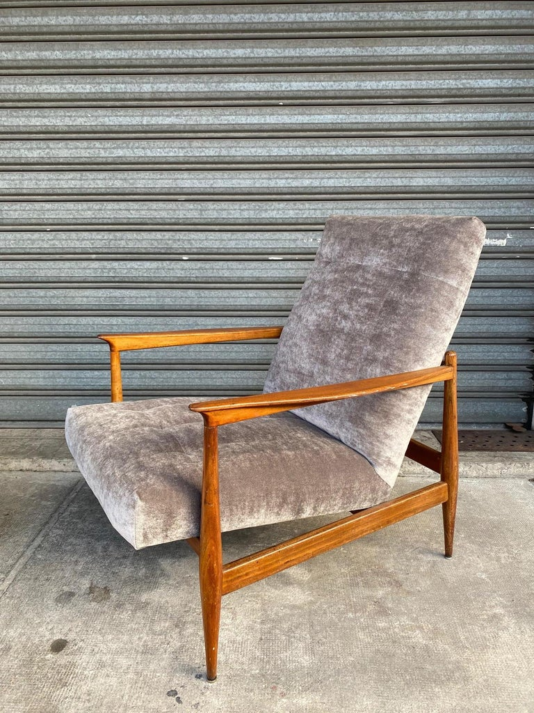 Pair of armchairs, Portugal, 1960s, attributed to Altamira manufacturer, recently reupholstered with a grey velvet.