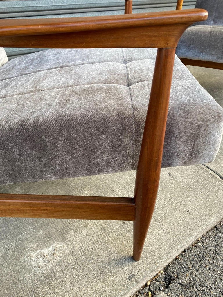 Velvet Pair of Armchairs, Altamira Editions, Portugal, 1960s For Sale