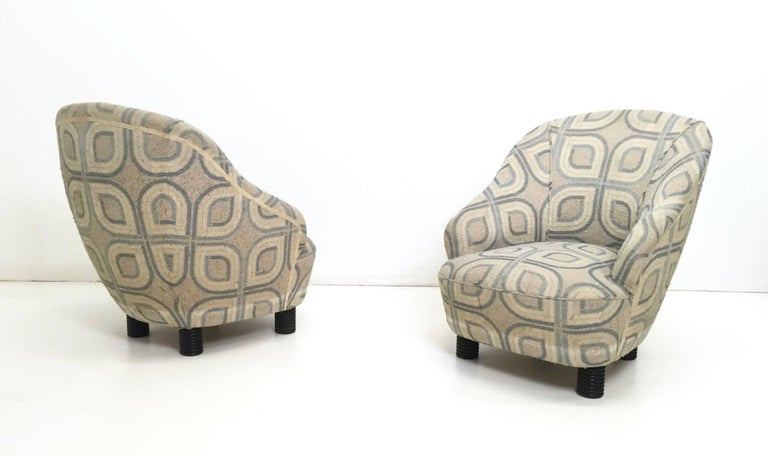 Pair of Armchairs and an Ottoman by Gio Ponti, Italy, 1930s In Good Condition For Sale In Bresso, Lombardy