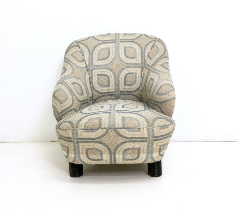 Fabric Pair of Armchairs and an Ottoman by Gio Ponti, Italy, 1930s For Sale
