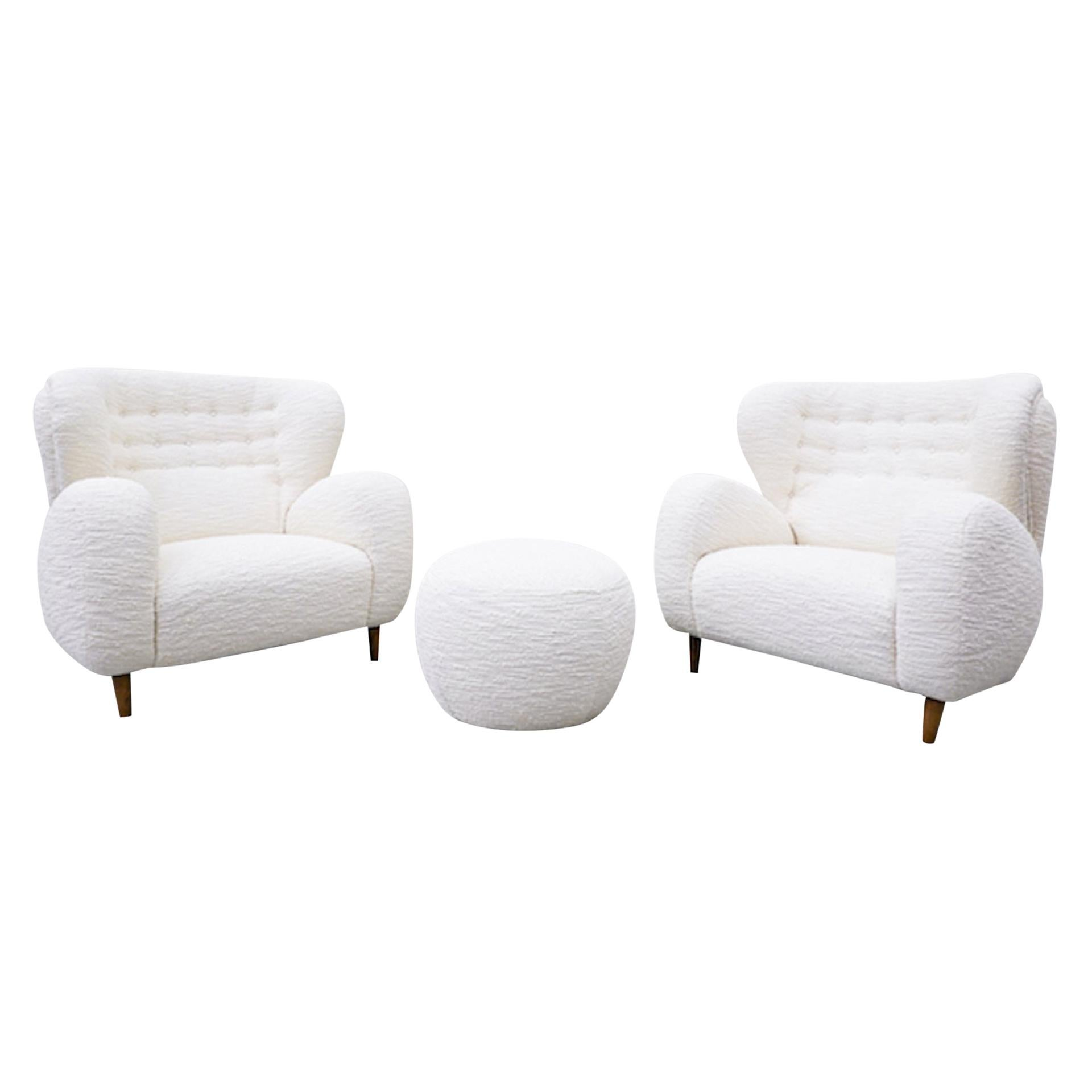 Pair of Armchairs and Ottoman, Italy, - Reupholstered