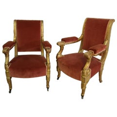 "Pair of Armchairs Apparat Gilded Wood ""jeanselme"""