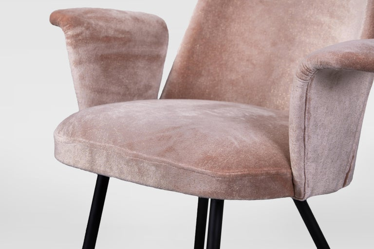 Mid-20th Century Pair of Armchairs Attributed to Gastone Rinaldi, Italy, 1950s, in Dedar Velvet For Sale