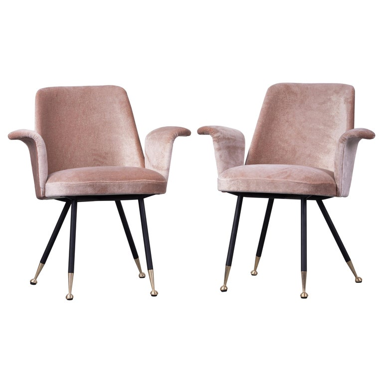 Pair of Armchairs Attributed to Gastone Rinaldi, Italy, 1950s, in Dedar Velvet For Sale