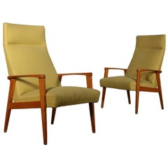 Pair of Armchairs Beech Fabric Upholstery Vintage, Italy, 1950s-1960s