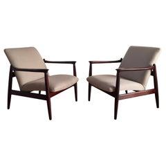 Pair of Armchairs, Beige Linen, Edmund Homa, 1960s