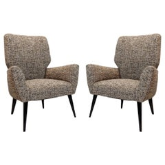 Pair of Armchairs Black Lacquered Wood Legs, New Upholstery, Italy, 1950s