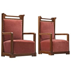 Pair of Armchairs by Angelo Sello in Rouge Velvet