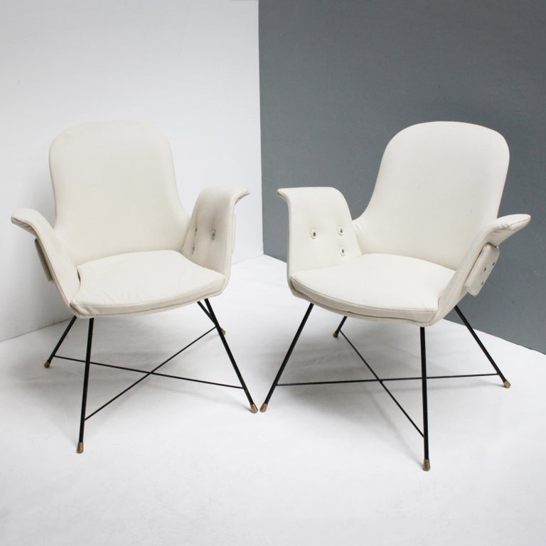 Pair of rare armchairs by Augusto Bozzi for Saporiti, Italy.