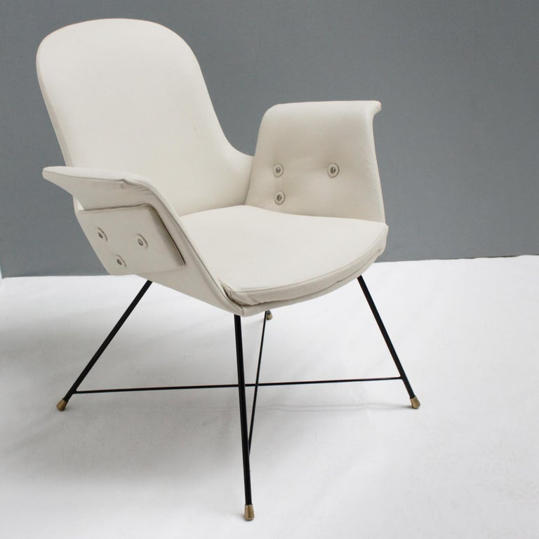 Metal Pair of Armchairs by Augusto Bozzi for Saporiti For Sale
