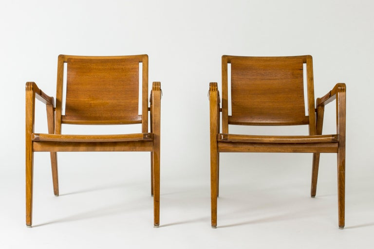 Swedish Pair of Armchairs by Axel Larsson for Bodafors, Sweden, 1940s. For Sale