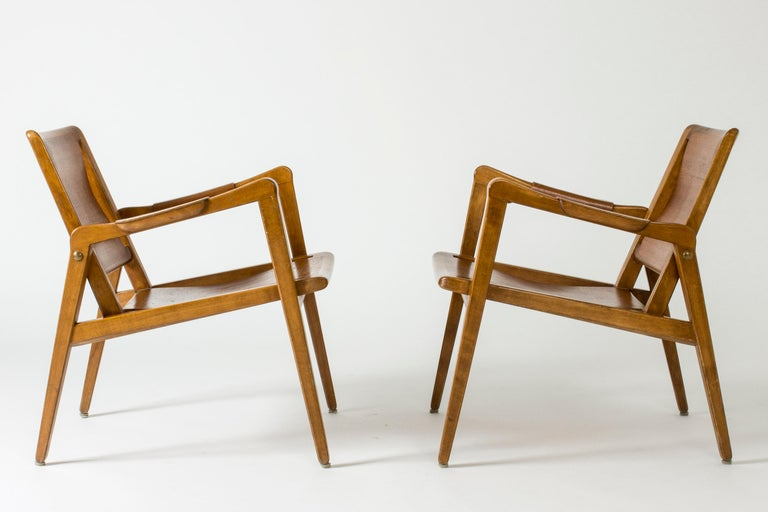 Mid-20th Century Pair of Armchairs by Axel Larsson for Bodafors, Sweden, 1940s. For Sale