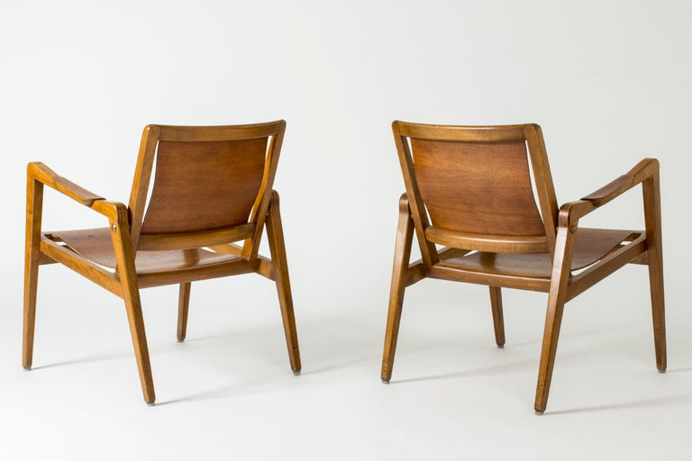 Elm Pair of Armchairs by Axel Larsson for Bodafors, Sweden, 1940s. For Sale
