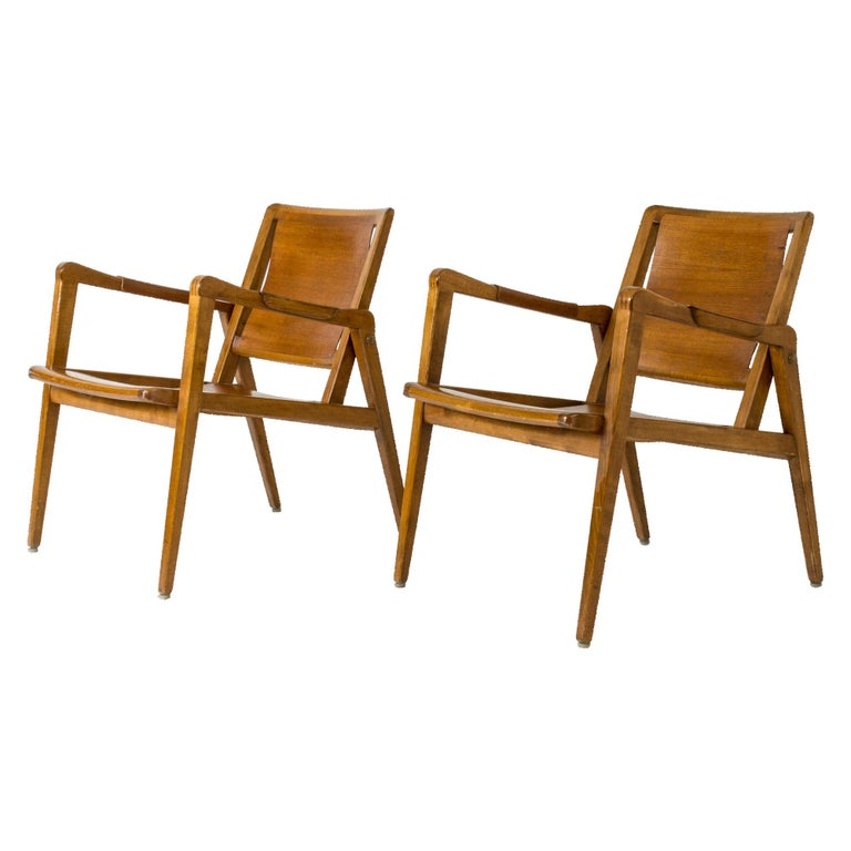 Pair of Armchairs by Axel Larsson for Bodafors, Sweden, 1940s. For Sale