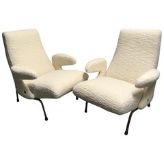 "Pair of Armchairs by Erberto Carboni Model ""Delfino"" for Arflex, Italy, 1950s"