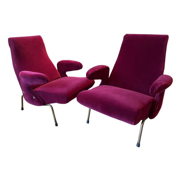 """Pair of Armchairs by Erberto Carboni Model """"Delfino"""" for Arflex, Italy, 1950s For Sale"""