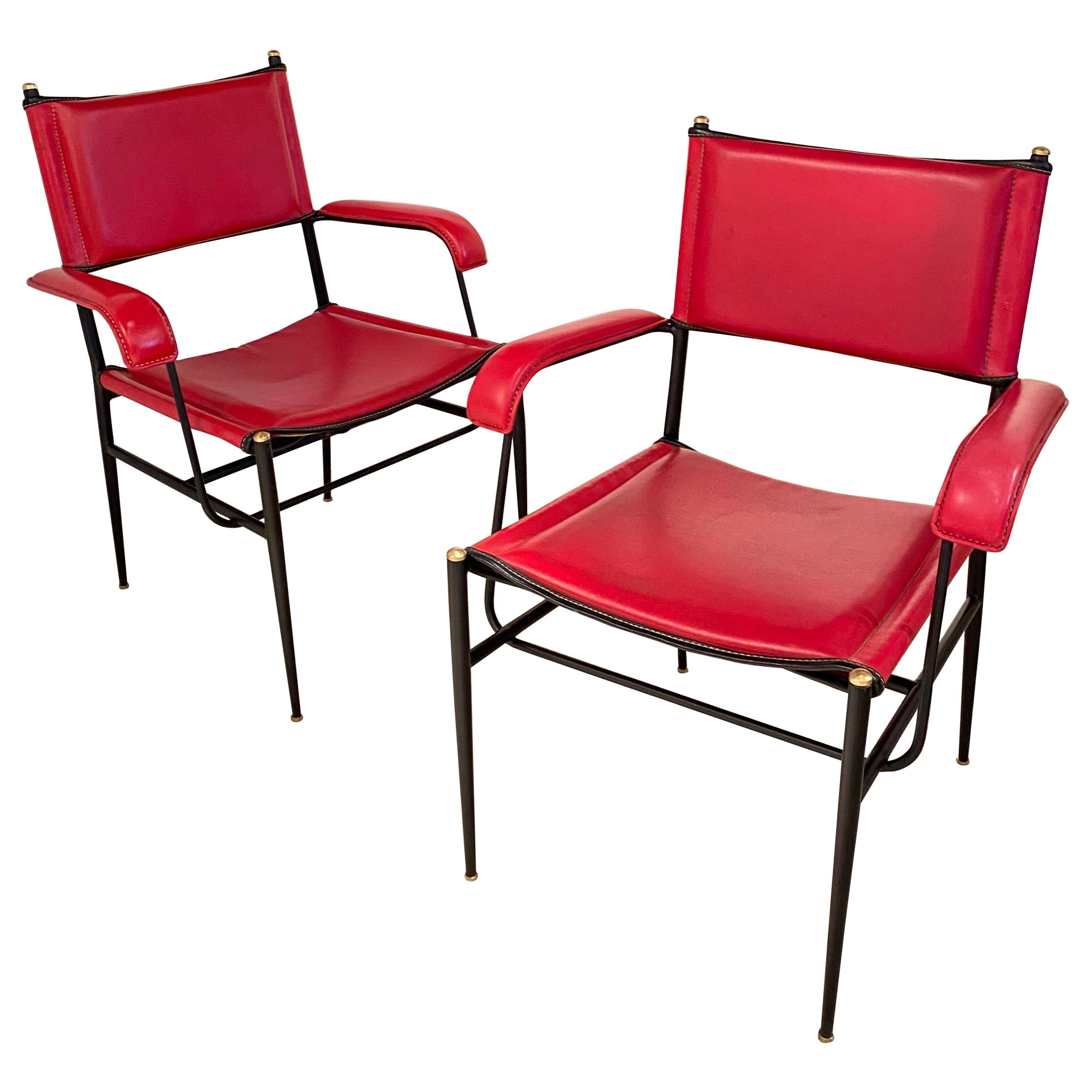 Pair of Armchairs by Jacques Adnet