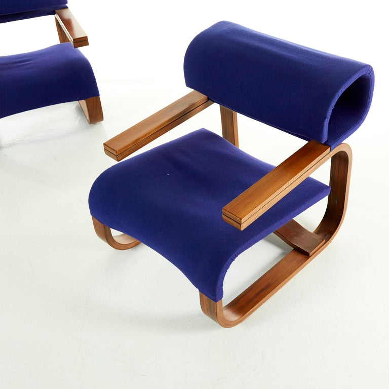European Pair of Armchairs by Jan Bocan for the Czechoslovakian Embassy, Thonet, 1972 For Sale