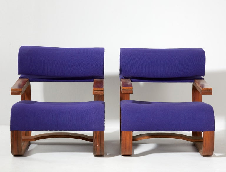 Rosewood Pair of Armchairs by Jan Bocan for the Czechoslovakian Embassy, Thonet, 1972 For Sale