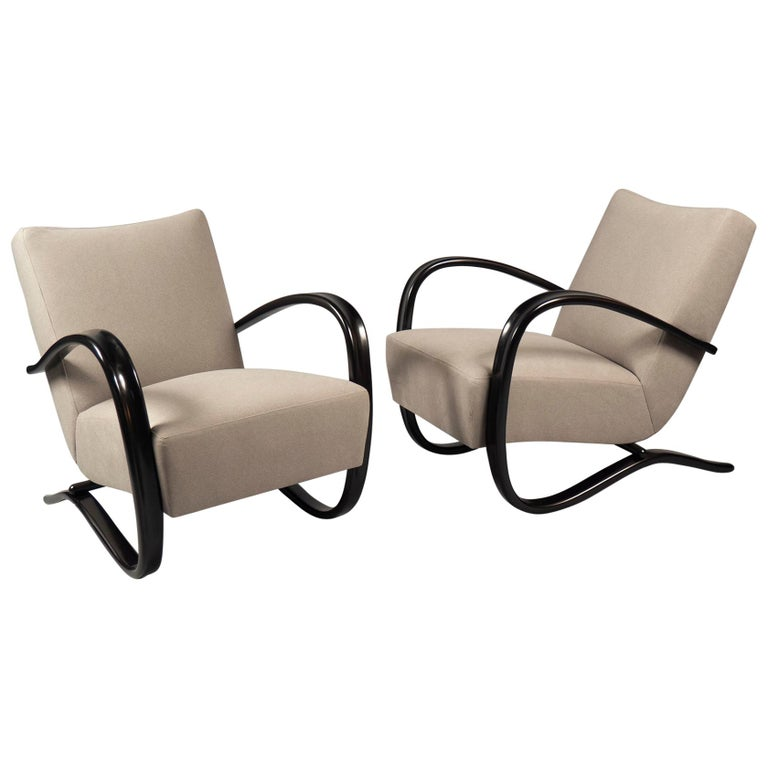Pair of Armchairs by Jindrich Halabala, Czechoslovakia, Thonet, 1930s For Sale