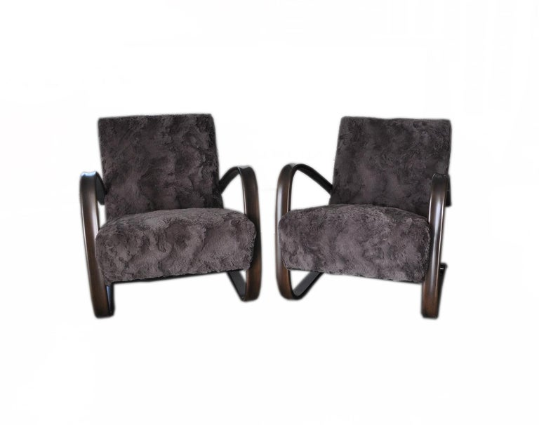 Czech Pair of Armchairs by Jindrich Halabala For Sale