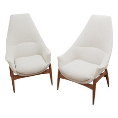 Pair of Armchairs by Julia Gaubek, New Upholstery, Hungary, circa 1970