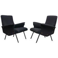 Pair of Armchairs by Osvaldo Borsani, black wool, manufactured by TECNO, 1955