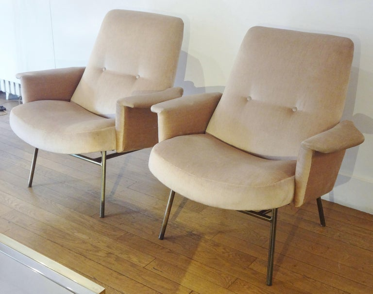French Pair of Armchairs by Pierre Guariche, 1953 For Sale