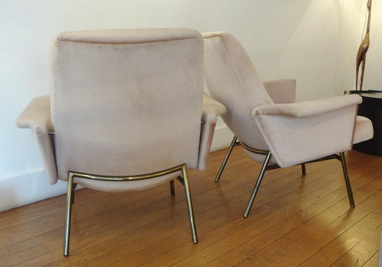 Patinated Pair of Armchairs by Pierre Guariche, 1953 For Sale