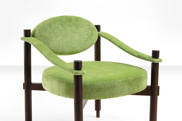 Pair of Armchairs by Raffaella Crespi in Green Textured Velvet, Italy, 1960s For Sale 4
