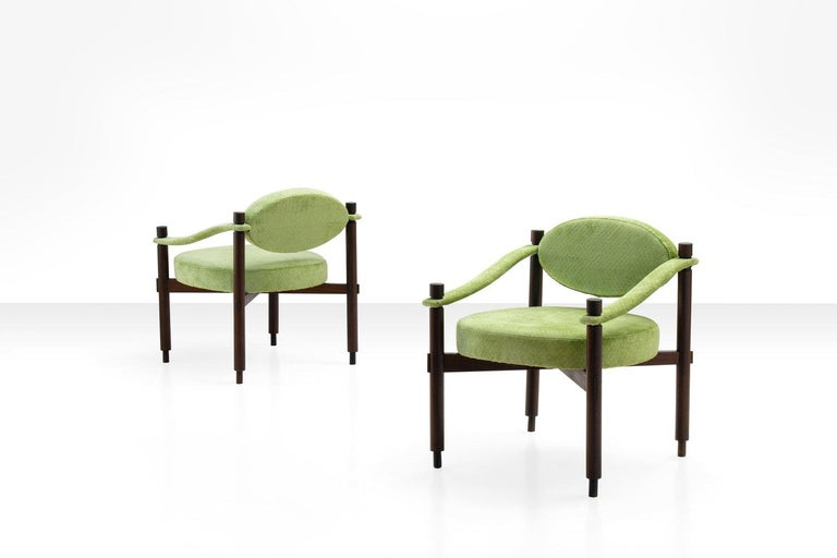 Pair of armchairs by Raffaella Crespi in green textured velvet, Italy, 1960s. Produced by Mobilia.   Literature:  Domus, n. 373 December 1960, advertisement.  Domus, n. 400, March 1963, review.  Complimentary shipping within the