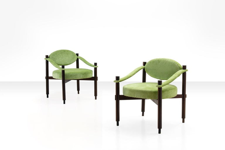Mid-Century Modern Pair of Armchairs by Raffaella Crespi in Green Textured Velvet, Italy, 1960s For Sale