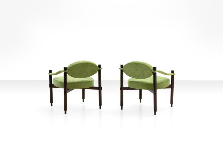 Pair of Armchairs by Raffaella Crespi in Green Textured Velvet, Italy, 1960s In Good Condition For Sale In Utrecht, NL