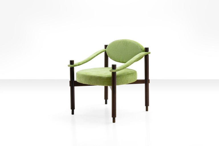 Mid-20th Century Pair of Armchairs by Raffaella Crespi in Green Textured Velvet, Italy, 1960s For Sale