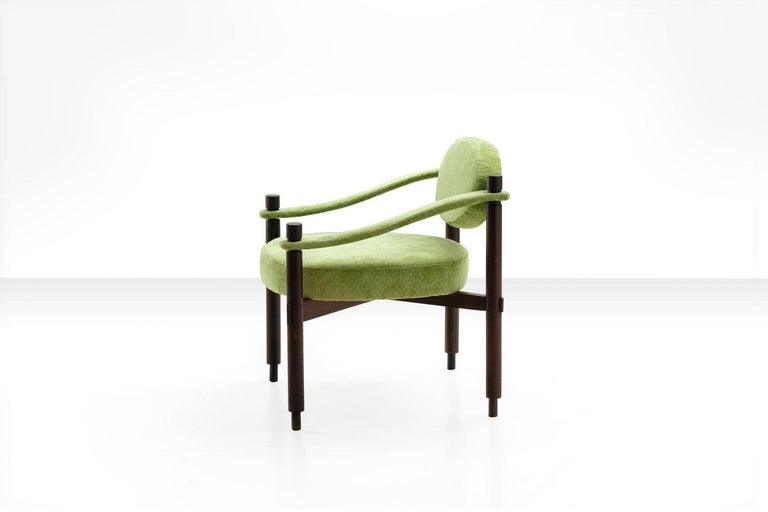 Pair of Armchairs by Raffaella Crespi in Green Textured Velvet, Italy, 1960s For Sale 1
