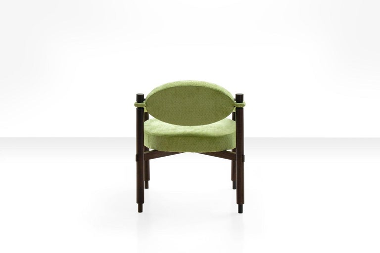 Pair of Armchairs by Raffaella Crespi in Green Textured Velvet, Italy, 1960s For Sale 2