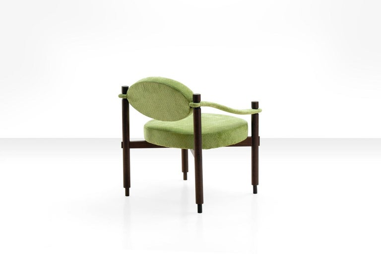 Pair of Armchairs by Raffaella Crespi in Green Textured Velvet, Italy, 1960s For Sale 3