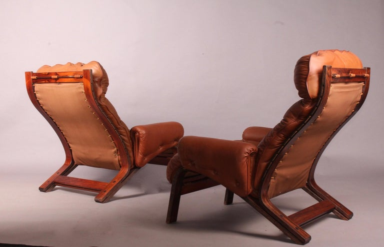 Swedish Pair of Armchairs by Rybo Rykken For Sale