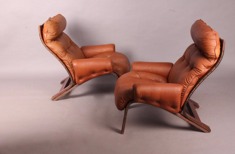 Pair of Armchairs by Rybo Rykken In Good Condition For Sale In Meyrin, CH