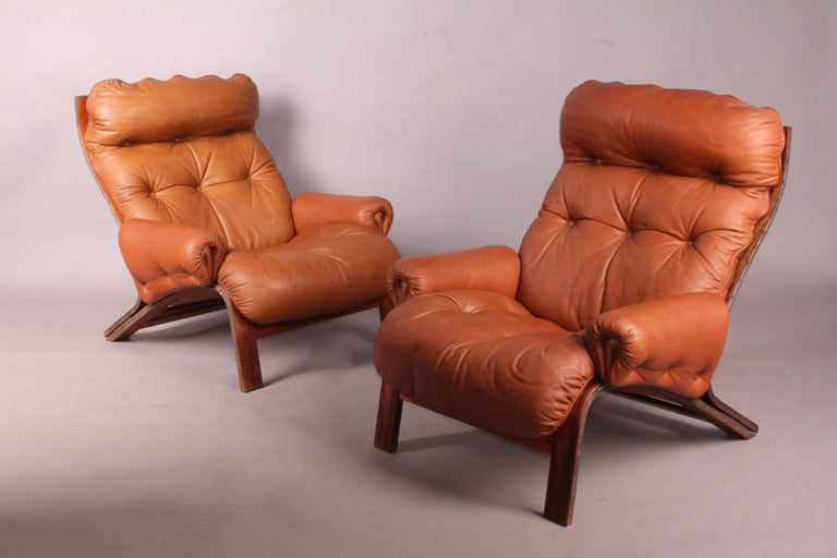 Mid-20th Century Pair of Armchairs by Rybo Rykken For Sale
