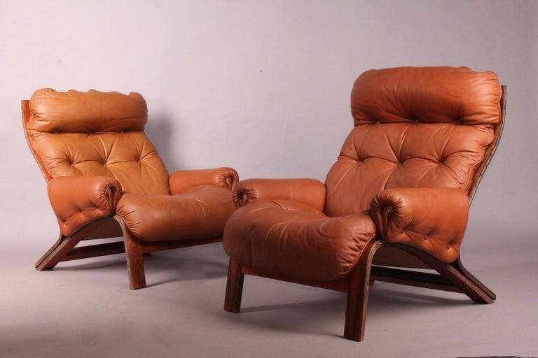 Leather Pair of Armchairs by Rybo Rykken For Sale