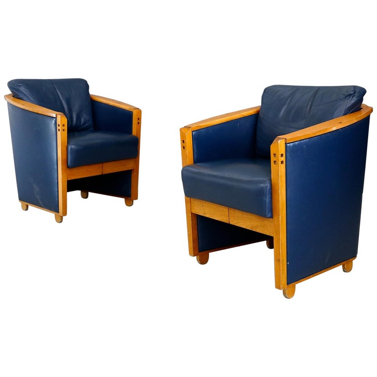 """Pair of Armchairs by Umberto Asnago """"project series"""" for Giorgetti, 1990 For Sale"""