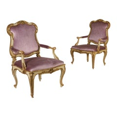 Pair of Armchairs Carved Lacquered Walnut, Mid-1800s