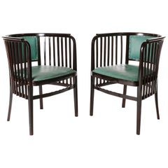 Pair of Armchairs Chairs Marcel Kammerer, Thonet, Turquoise Green Leather, 1910
