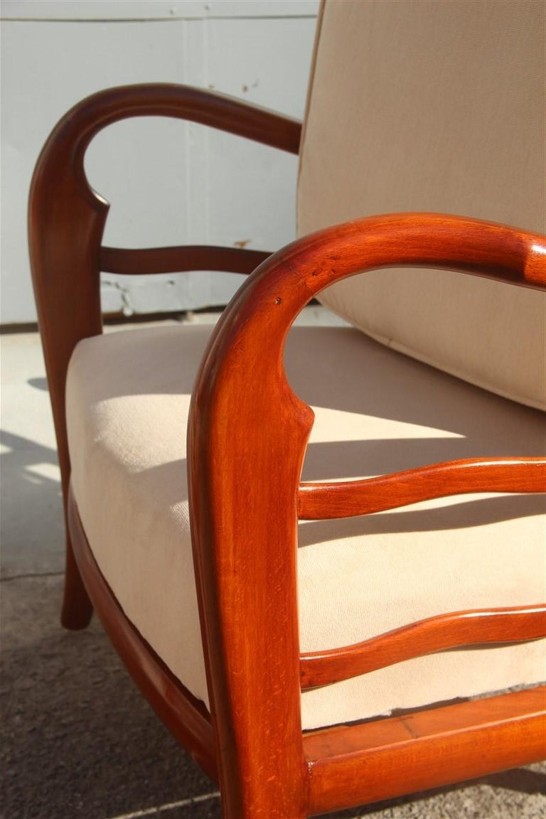 Pair of Armchairs Cherrywood Paolo Buffa Midcentury Italian Design 1950 Beige For Sale 4